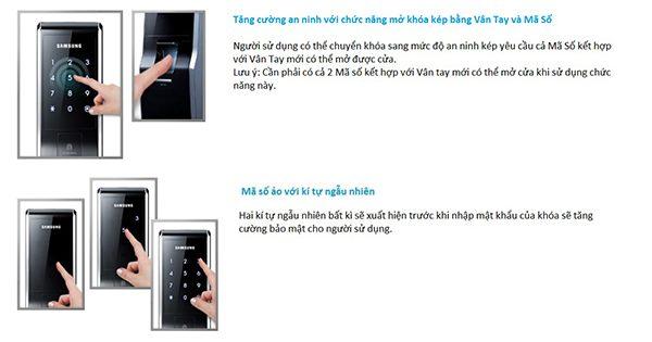 Thông tin kỹ thuật của khóa bảo mật vân tay Samsung
